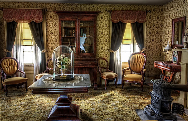 wallpaper, curtains, carpet, carver chairs, wood, traditional, busy, cabinets