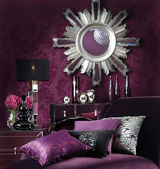 bedrooom, shiny, metallic, lamp, cushions, pillows, purple, glamour, mirror, silver