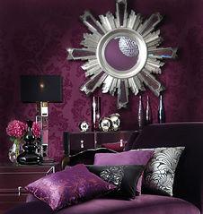 bedrooom, shiny, metallic, lamp, cushions, pillows, purple, glamour, mirror, silver