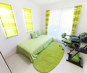 curtains, blinds, bed, rug, desk, chair, citrus, lime, green, home office, guest room,