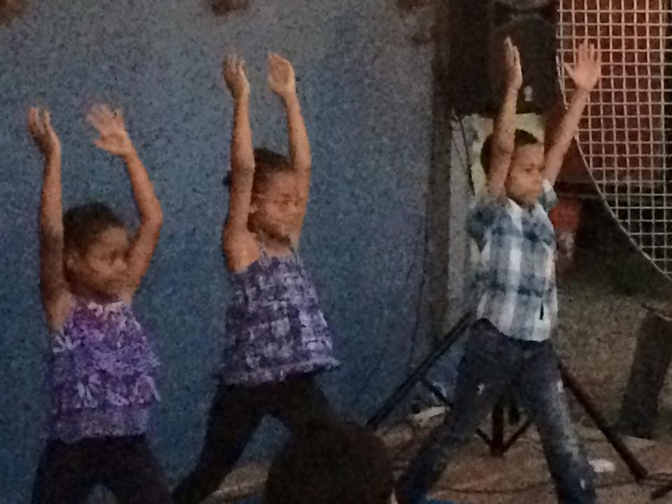 Youth showing off their yoga skills