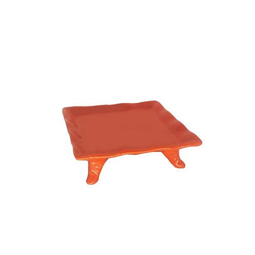 Prato quadrado com pé laranja