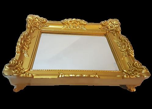 Bandeja espelhada dourada