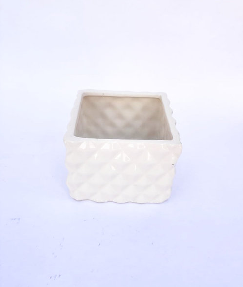 Potinho branco geométrico