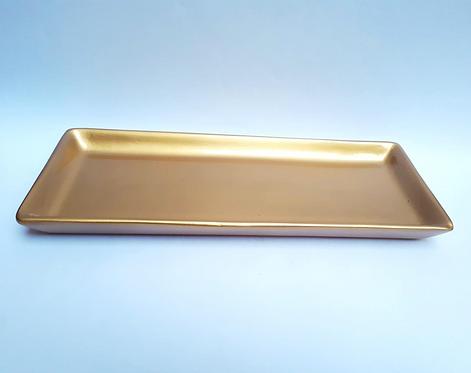 Bandeja retangular dourada