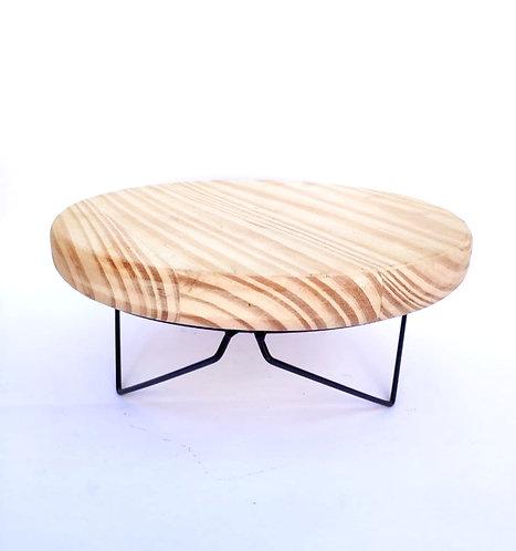 Bandeja redonda madeira com suporte