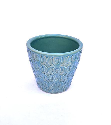 Vaso azul geométrico