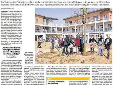 Die Rheinische Post berichtet über unsere Vorstellung im Planungsausschuss