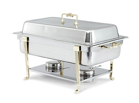 8 qt brass trim square chafing dish