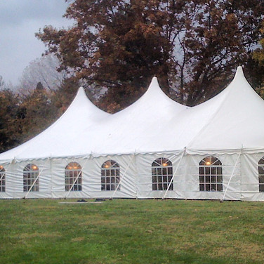 40x80 pole tent with sides and lights