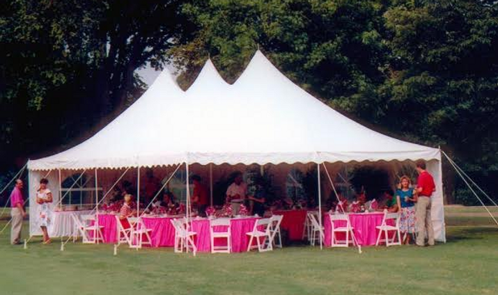 3 pole tent rent, wedding tent rent, tent with sides rent, rent tent with poles and sides, outdoor tent with tables and chairs, tent with windows rent, 30' wide century pole tent, pole tent rent, century pole tent rent