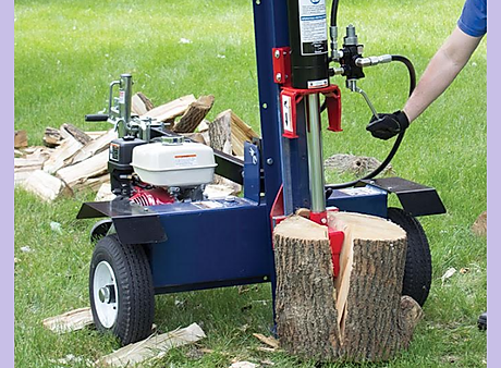 Vertical log splitter, horizontal log splitter, tow behind log splitter, gas powered log splitter, hydraulic log splitter, strong log splitter, flip-able log splitter, easy use log splitter, blue log splitter
