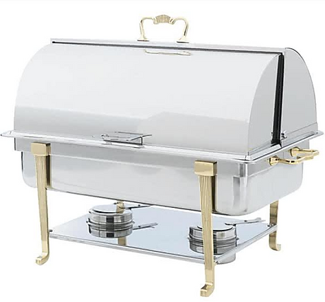 8qt brass chafer roll top for servin warm food dishes