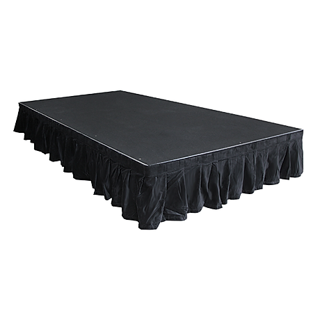 Stage, stage rent, stage with skirting, black stage rent, stage and skirt rental, stage and stair rental, presentation stage rent, stage with legs rental, rent a stage, stage skirt rental
