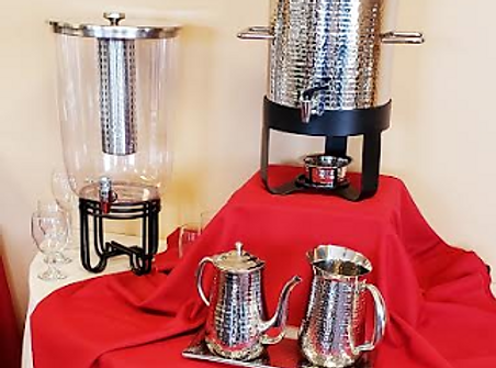 hammered drink set up hot orcold drink dispensor in a hammered shinny finish