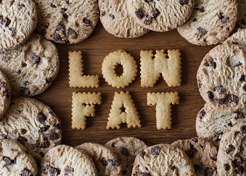 The phrase Low Fat spelled out with alph