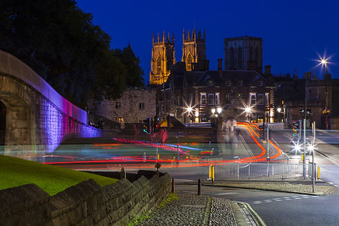 A night-time view of York Minster in the