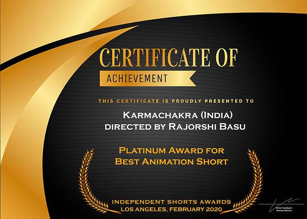 Karmachakra wins Platinum for Best Animation Short at ISA Los Angeles 2020