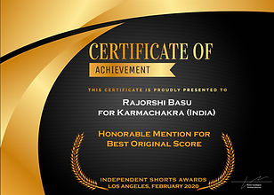 Karmachakra receives Honorable Mentions for Best Original Score at ISA Los Angeles 2020