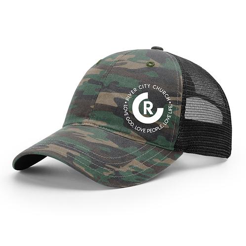 Garment Washed Camo Trucker Hat