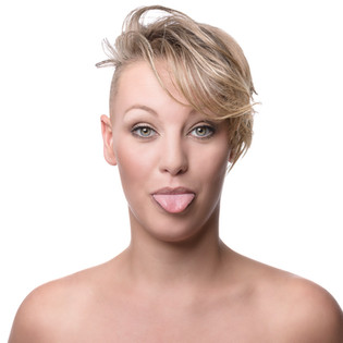 silly face female model