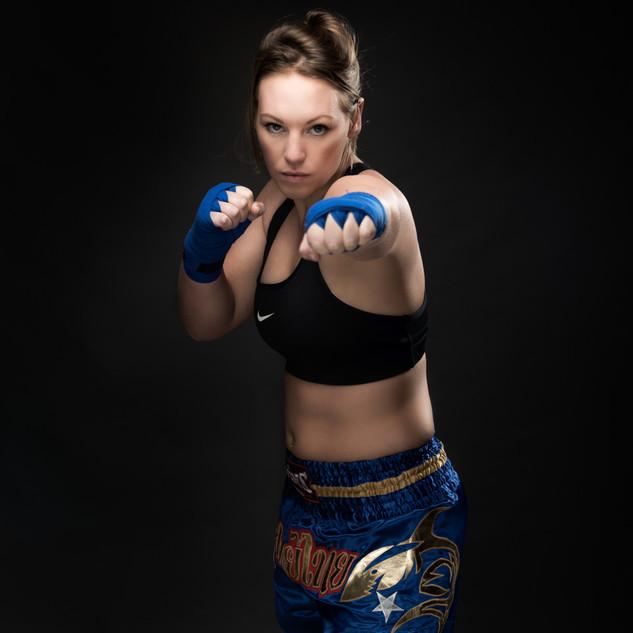femal kick boxer portrait