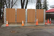Wooden Fence with orange cones, Wilmington NC