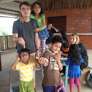 Having fun with chidren in the community of Mariscal Sucre