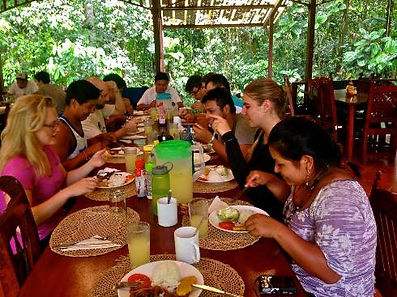 Lunchtime at Tiputini - excursion site for all students.