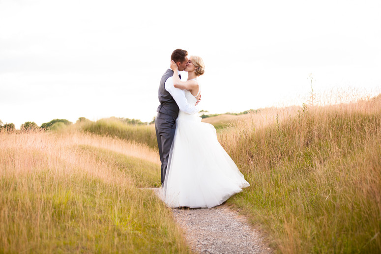Bride and groom after wedding at Whistling Straits