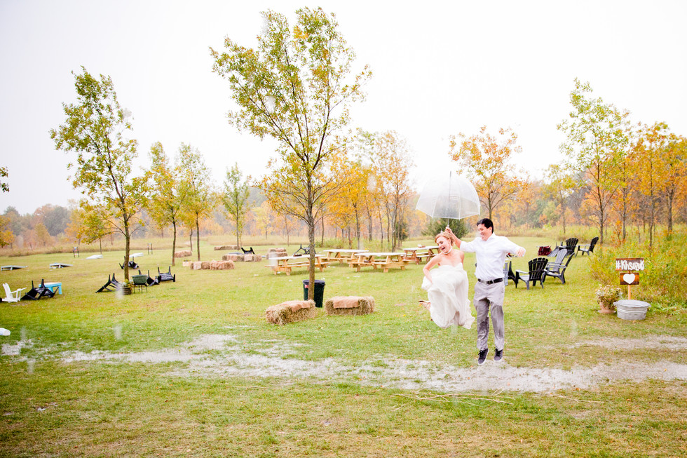 Trash the dress at the reception in the rain