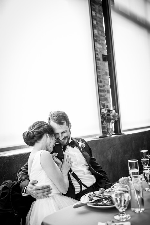 Bride and Groom Laugh at Reception at The Leftbank Annex