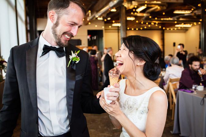 Bride and groom have Salt & Straw at The Leftbank Annex