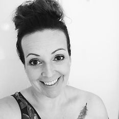Profile pic - hair up feather B&W - earr
