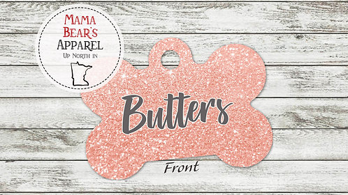 Pink Glitter Personalized Dog Name Tag