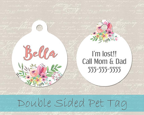 Boho Watercolor Flowers  - Personalized Dog Name Tag
