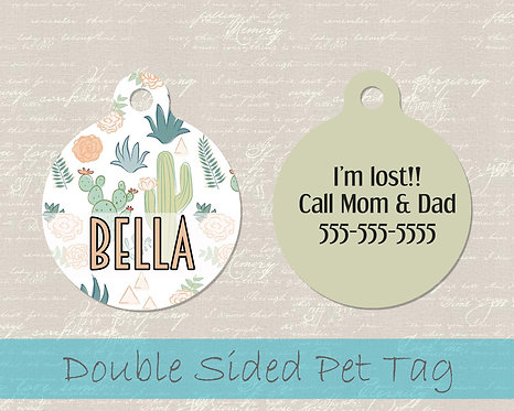 Southeast Cactus Dog Tag - Personalized Dog Name Tag
