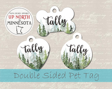 Watercolor Trees - Double Sided Dog ID Tag