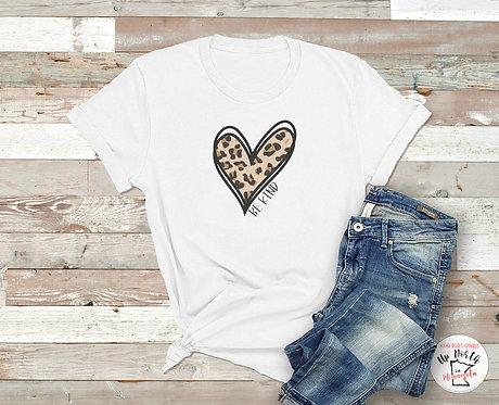 Be Kind. Leopard Heart T-Shirt