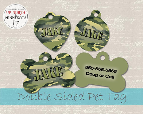 Camo Army Green Dog Tag - Personalized Dog Name Tag