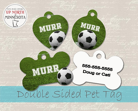 Soccer Field Dog Tag -  Personalized Dog Name Tag