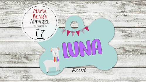 Llama Celebration Personalized Dog Name Tag