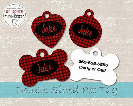 Red Buffalo Plaid Dog Tag - Minnesota - Personalized Dog Name Tag