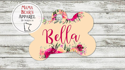 Watercolor Flowers Pink Name - Personalized Dog Name Tag