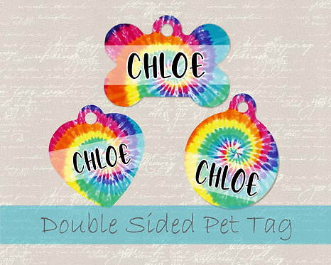 Tie Dye Personalized Dog Name Tag