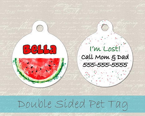 Watermelon Summer Dog Tag - Personalized Dog Name Tag