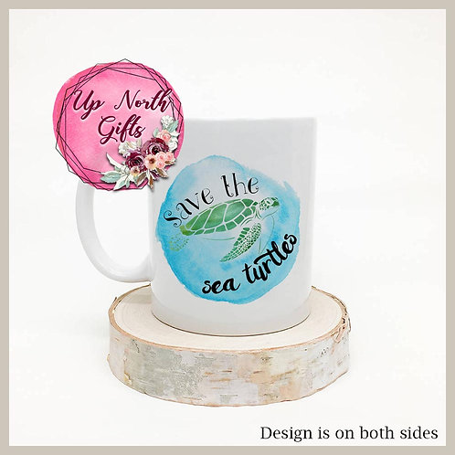 Save the Sea Turtles Watercolor Mug