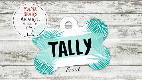 Palm Leaves Personalized Dog Name Tag