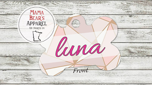 Rose Gold Abstract Personalized Dog Name Tag