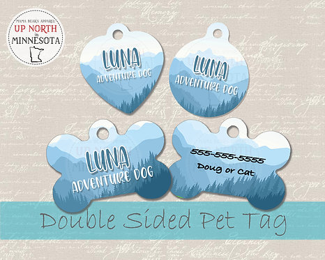 Mountain Tree Nature Dog Tag - Personalized Dog Name Tag